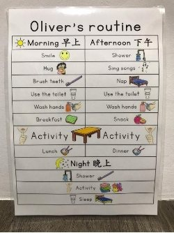 a schedule and routine for your child to set priorities and follow